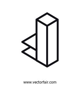 geometric and abstract 3d tower line style icon vector design