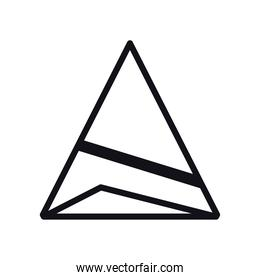 geometric and abstract 3d pyramid line style icon vector design