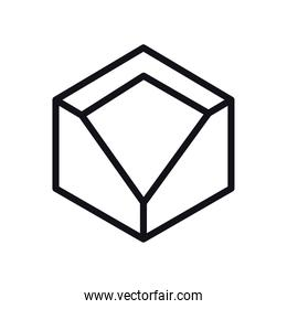 geometric and abstract 3d cube line style icon vector design