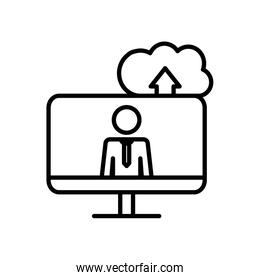 work concept, cloud storage and computer with pictogram man on screen, line style