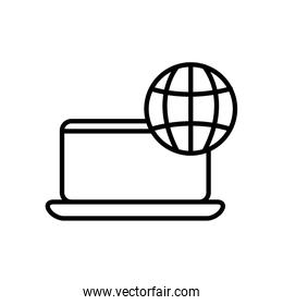 laptop computer with global sphere  linear style