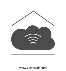 house with cloud storage icon, silhouette style