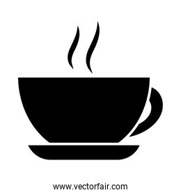 hot coffee cup, silhouette style