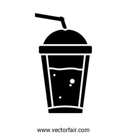 cold coffee cup icon, silhouette style