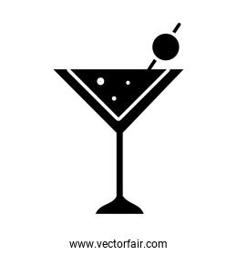 martini cocktail drink icon, silhouette style