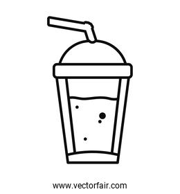 cold coffee cup icon, line style