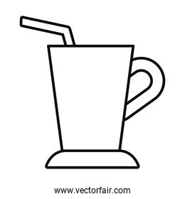 cup with straw icon, line style