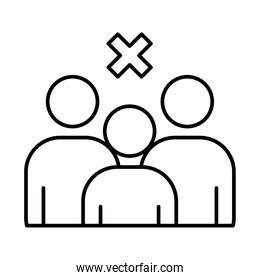 forbidden crowd symbol, pictogram people with cross icon, line style