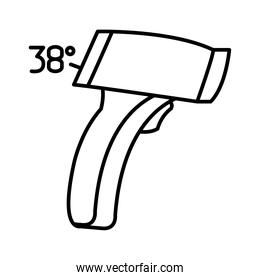 infrared thermometer icon, line style