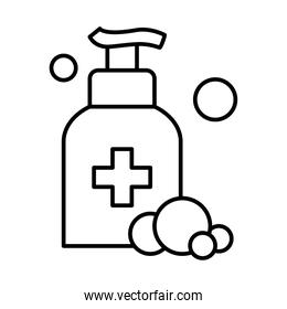 hands soap bottle and bubbles icon, line style