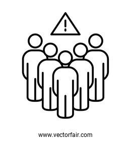 pictogram people and warning sign symbol, line style