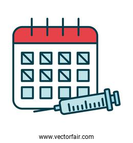 calendar planner and syringe icon, line and fill style