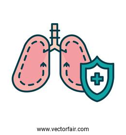 lungs and protection medical shield icon, line and fill style