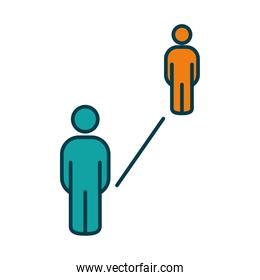 social distancing between two persons, line and fill style