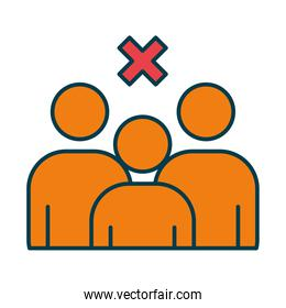 forbidden crowd symbol, pictogram people with cross icon, line and fill style
