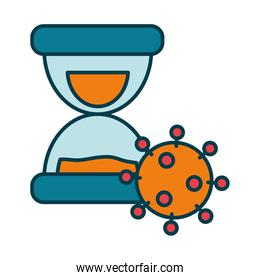 hourglass and coronavirus icon, line and fill style