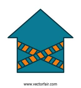 house shape with crossed prevention tapes, line and fill style