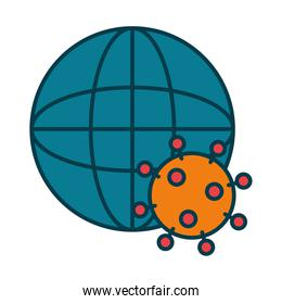 global sphere and coronavirus icon, line and fill style