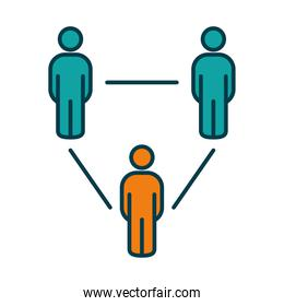 social distancing concept, pictogram people keeping the distance, line and fill style