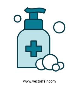 hands soap bottle and bubbles icon, line and fill style