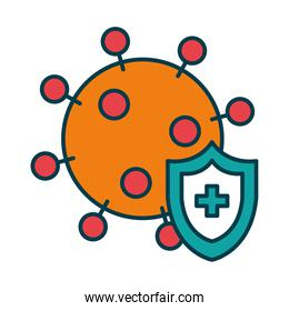 coronavirus and protection shield icon, line and fill style