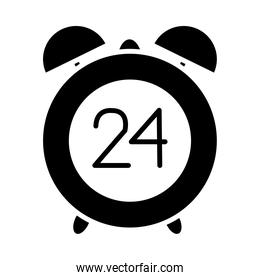 alarm clock with 24 hours icon, silhouette style