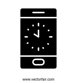 cellphone with clock on screen, silhouette style