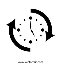isolated clock with sync arrows around, silhouette style