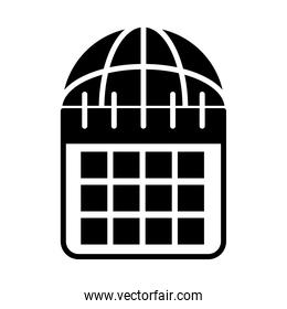 calendar planner and global sphere icon, silhouette style