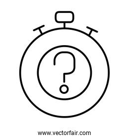 chronometer with question mark icon, line style