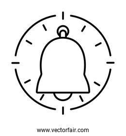 clock with bell icon, line style