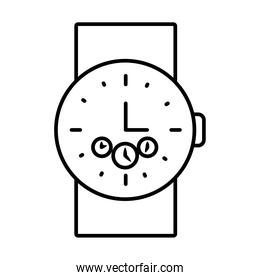 male handwatch icon, line style