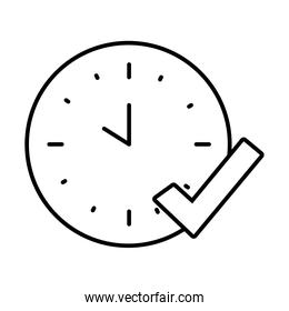 analog clock and check mark icon, line style