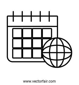 calendar planner and global sphere icon, line style