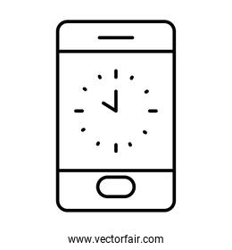 cellphone with clock on screen, line style