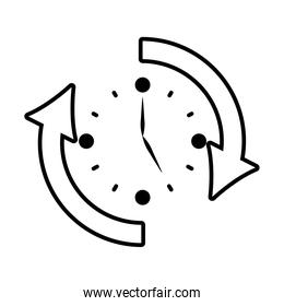 clock with sync arrows around, line style over white