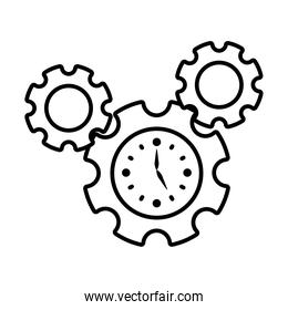 gear wheels with clock icon, line style