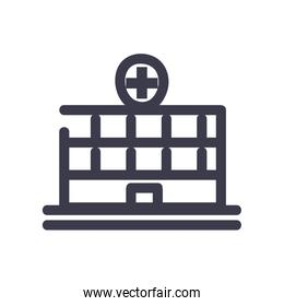 Hospital building fill style icon vector design