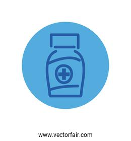 Medicine jar block style icon vector design