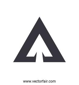 Up triangle arrow or above direction flat style icon vector design
