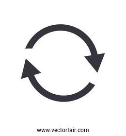 Repeat arrows or circle direction flat style icon vector design