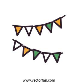 Party banner pennant fill style icon vector design