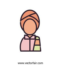 Indian avatar man fill style icon vector design