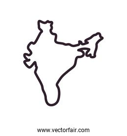 Indian map line style icon vector design