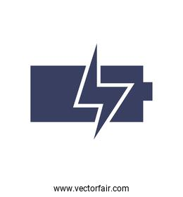 Isolated battery with thunder  silhouette  style icon vector design
