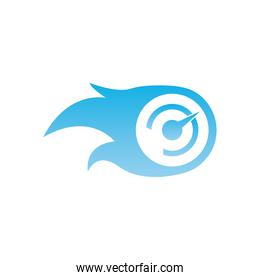Chronometer with flame  gradient  style icon vector design
