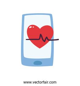 Heart pulse inside smartphone flat style icon vector design