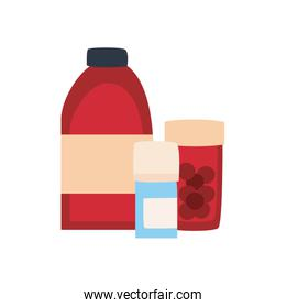 Medicine jars flat style icon vector design