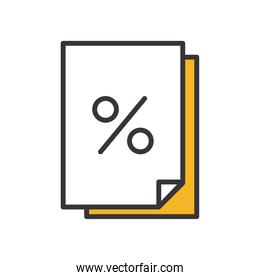 receipt paper line and fill style icon vector design