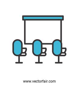 chairs with presentation board line and fill style icon vector design